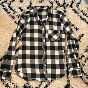 O'neill Black and White Plaid Top
